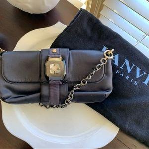 😊 SALE LANVIN RARE LIKE NEW BLUE SATIN CLUTCH BAG